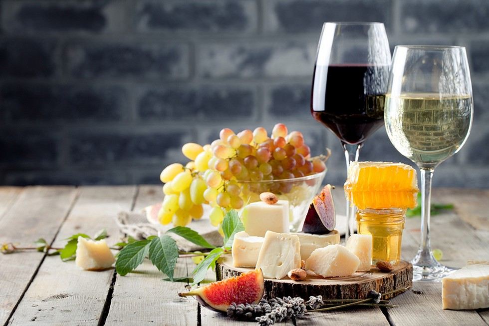 cheese and wine from italy